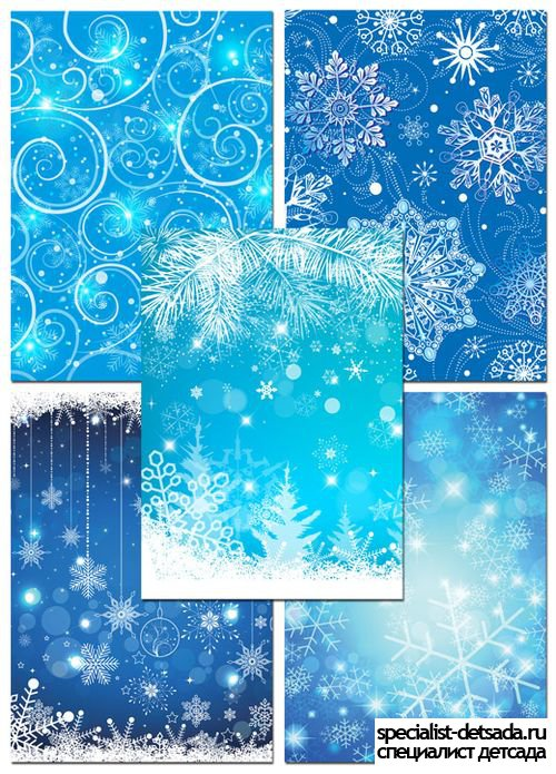 Зимние шаблоны со снежинками и